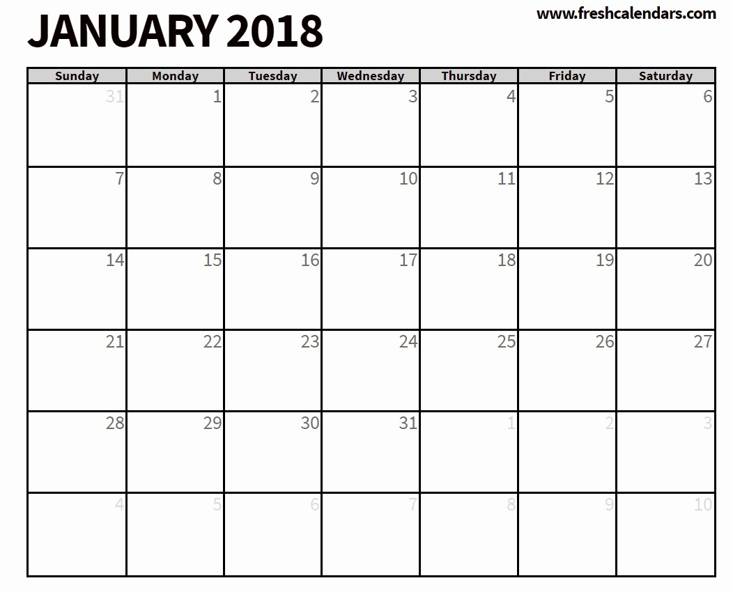 Blank January 2018 Calendar Printable Elegant Blank January 2018 Calendar Printable Templates