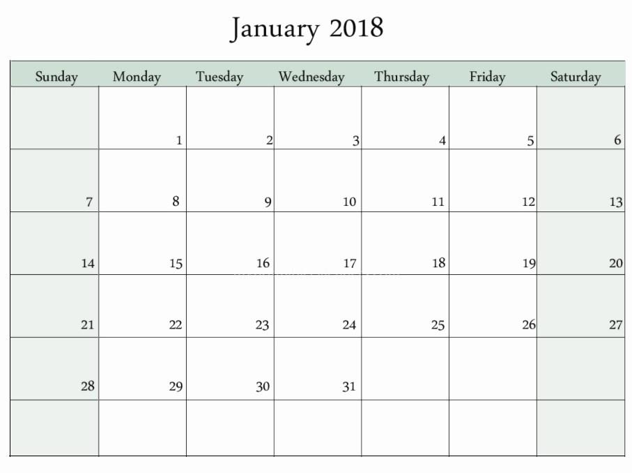 Blank January 2018 Calendar Printable Elegant Blank Templates January 2018