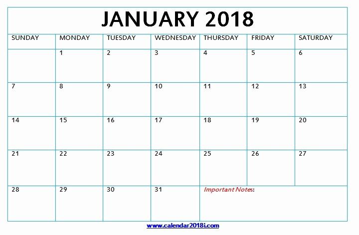 Blank January 2018 Calendar Printable Elegant Download Blank Calendar 2018 Monthly Printable Templates