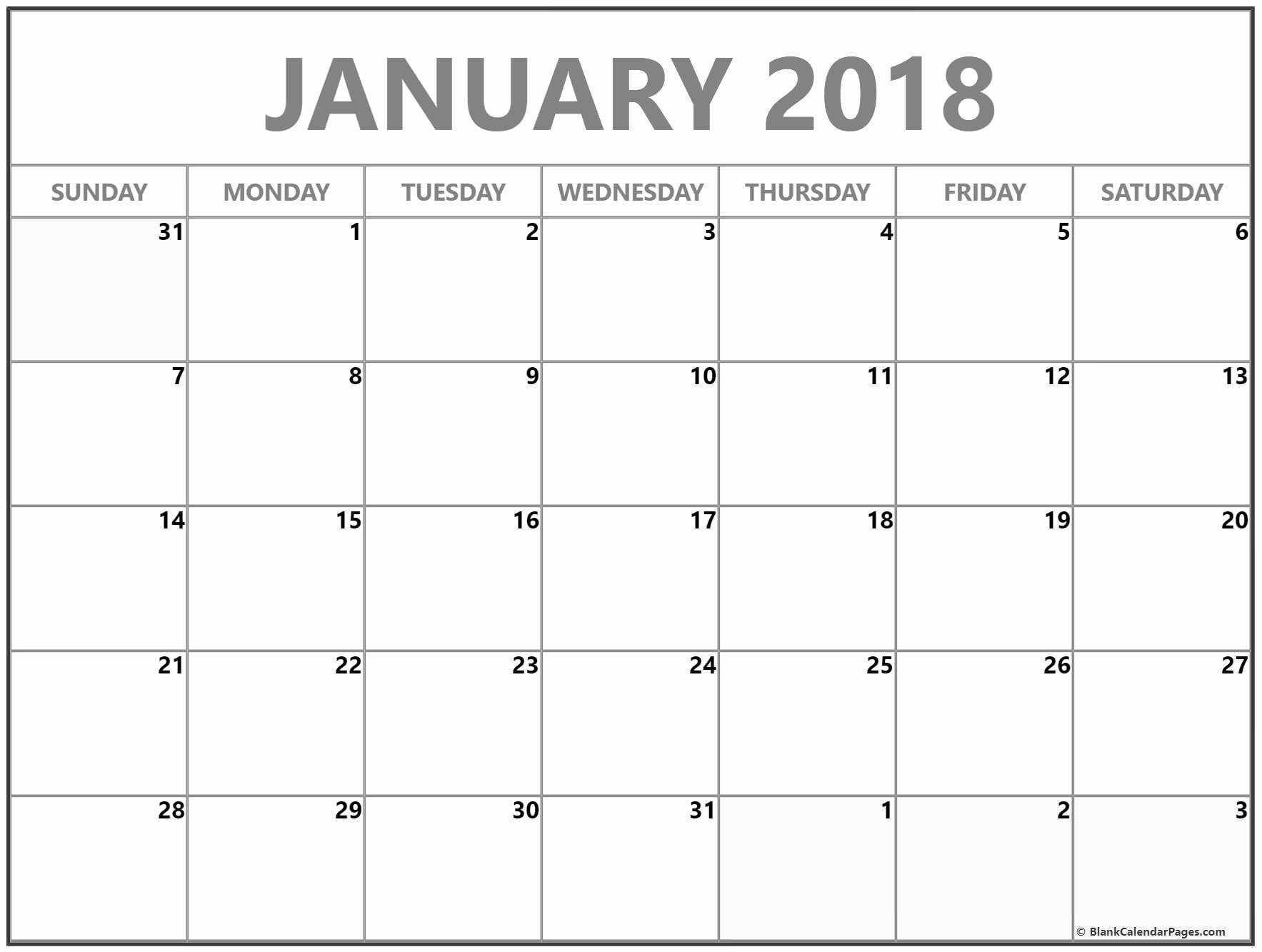Blank January 2018 Calendar Printable Elegant January 2018 Free Printable Blank Calendar Collection