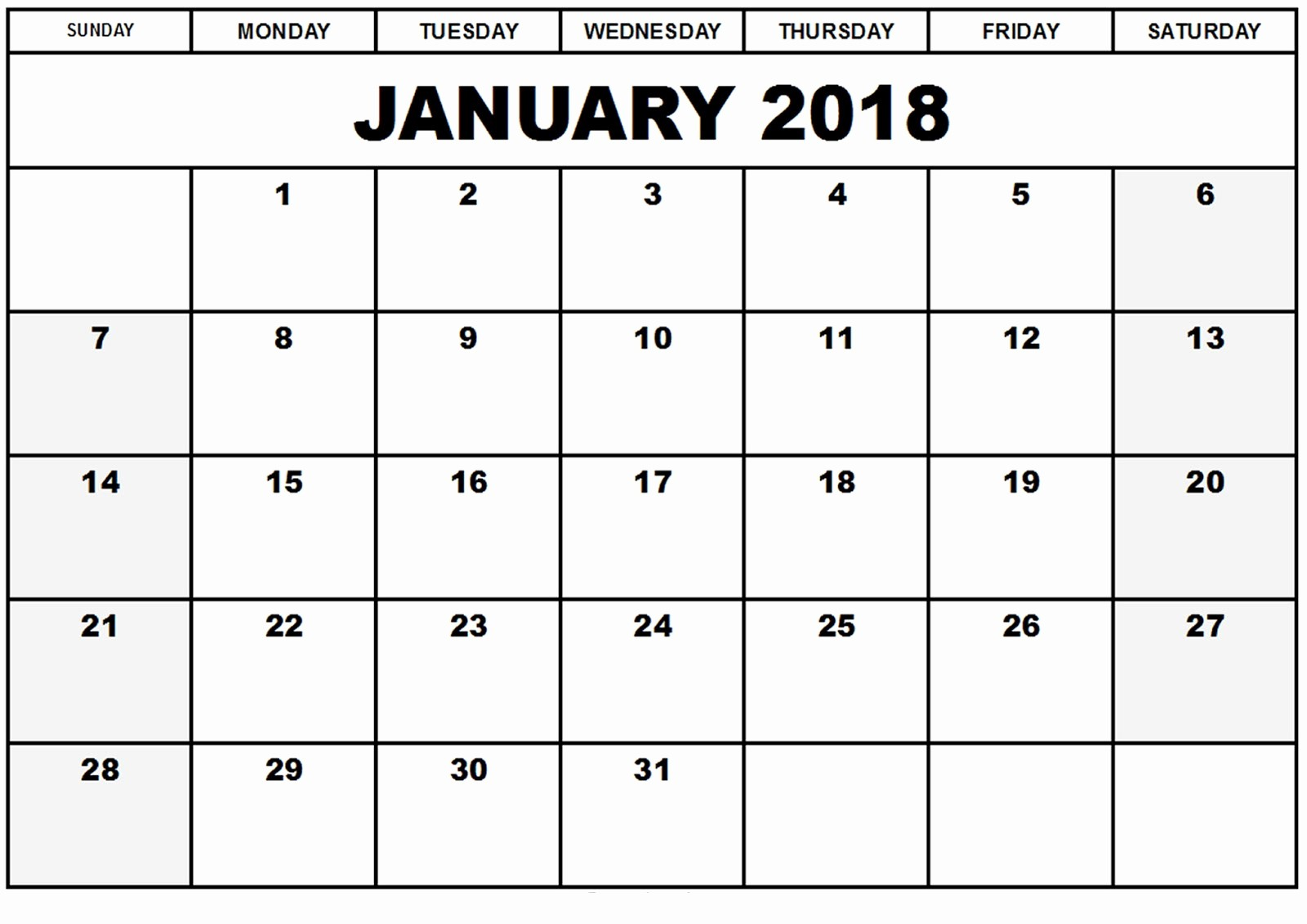 Blank January 2018 Calendar Printable Elegant Printable Calendar 2018 [free] January 2018 Printable