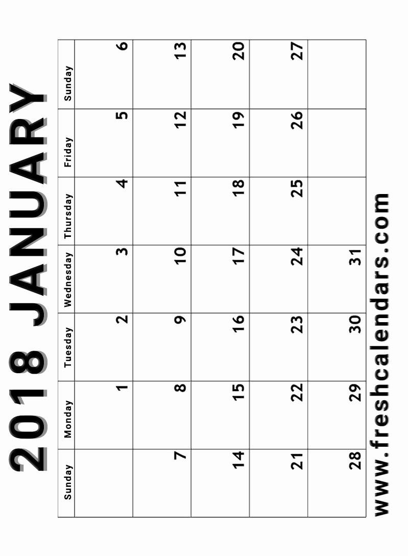 Blank January 2018 Calendar Printable Fresh Blank January 2018 Calendar Printable Templates