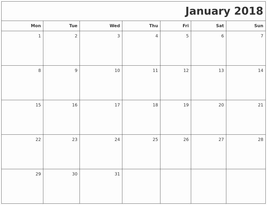 Blank January 2018 Calendar Printable Inspirational January 2018 Printable Blank Calendar