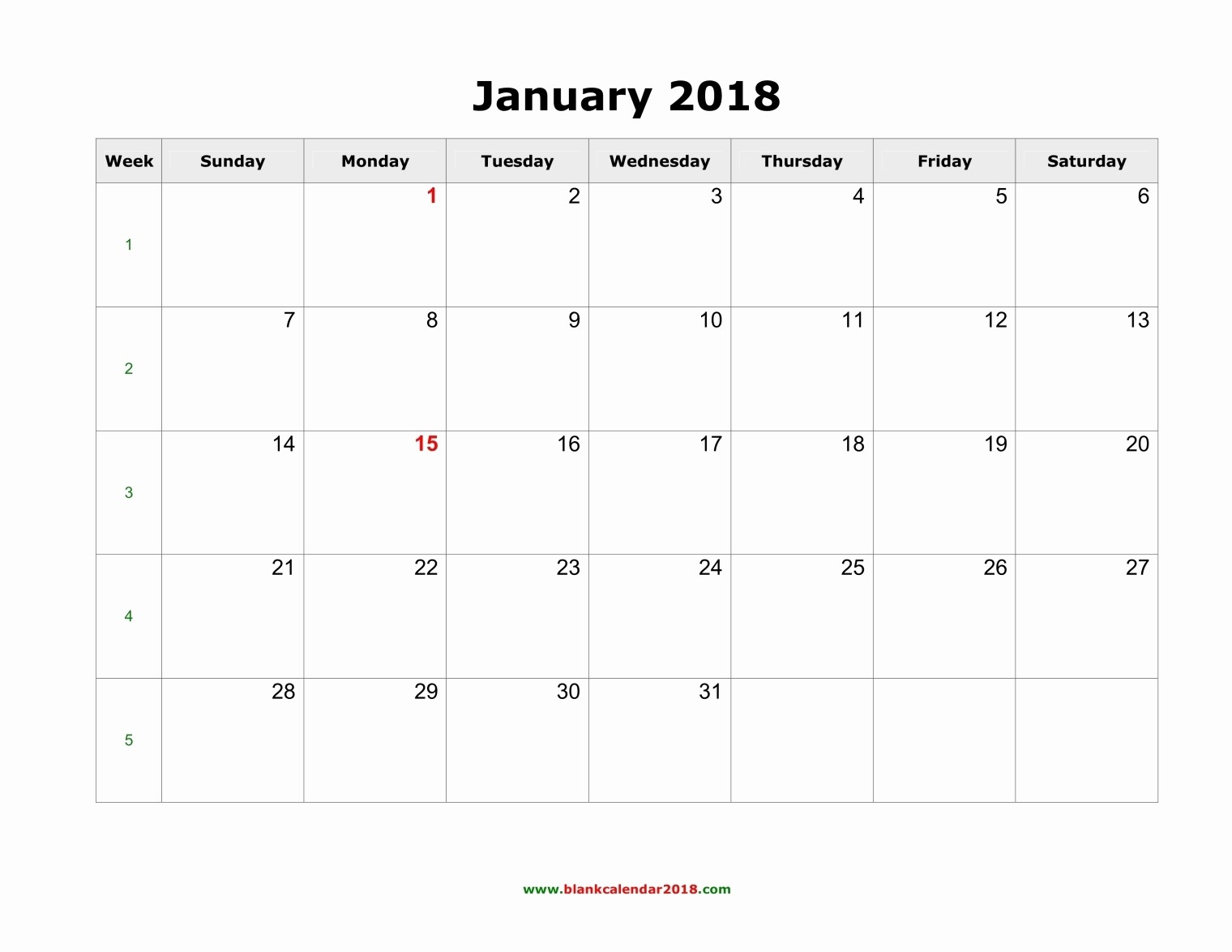 Blank January 2018 Calendar Printable Lovely Blank Calendar for January 2018