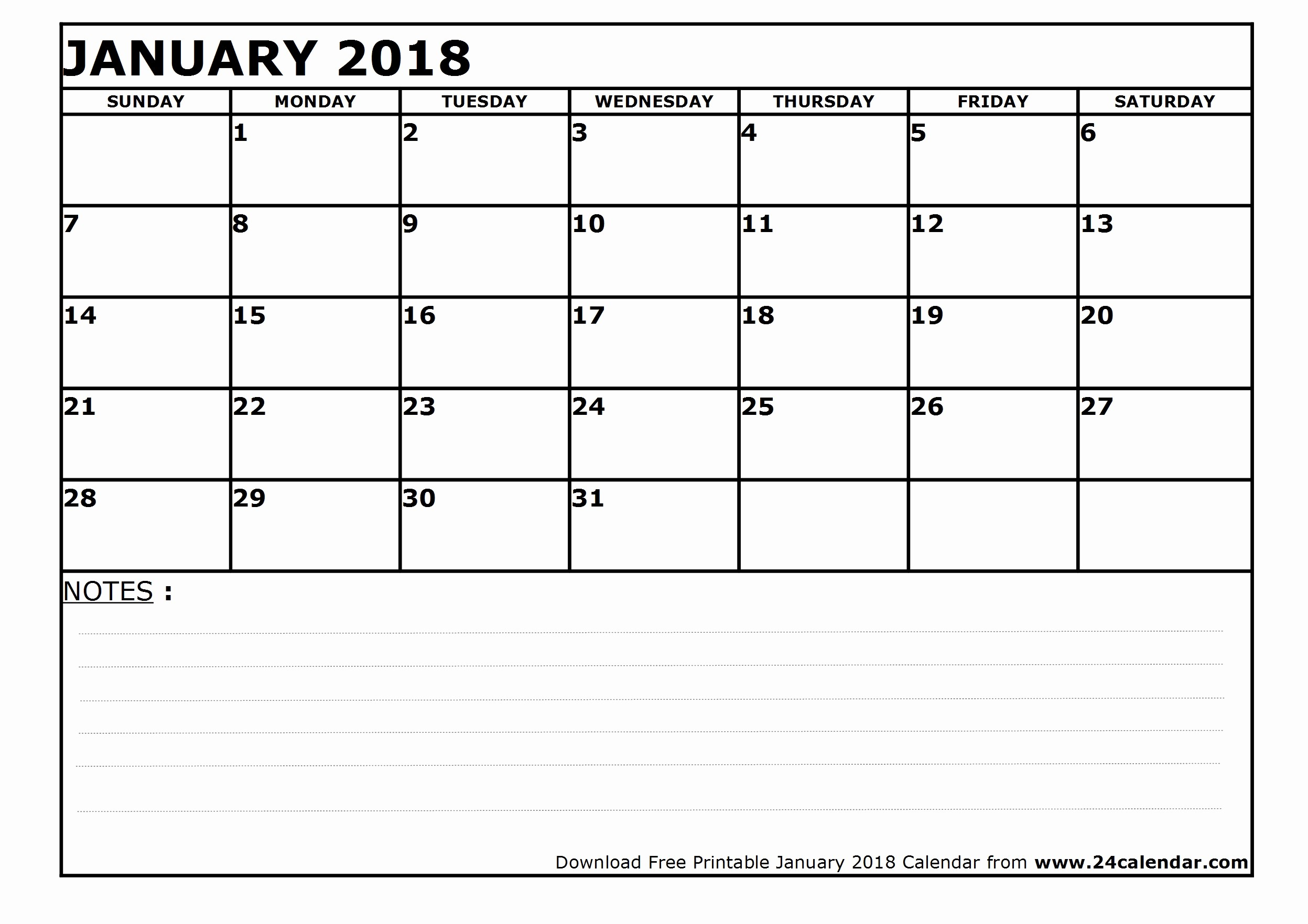Blank January 2018 Calendar Printable Lovely Blank January 2018 Calendar In Printable format