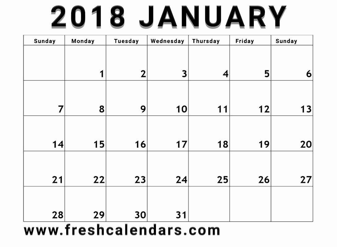 Blank January 2018 Calendar Printable Lovely Blank January 2018 Calendar Printable Templates