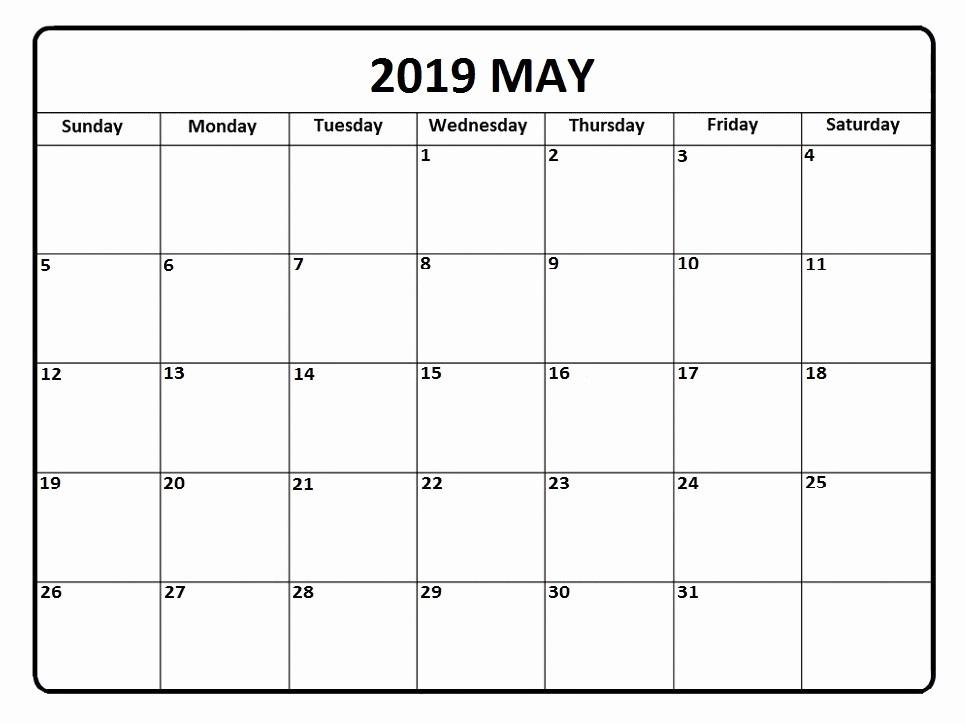 Blank January 2018 Calendar Printable Luxury Free May 2019 Blank Calendar Printable