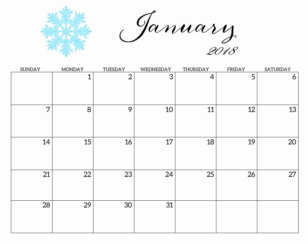 Blank January 2018 Calendar Printable Luxury Printable 2018 Monthly Blank Templates