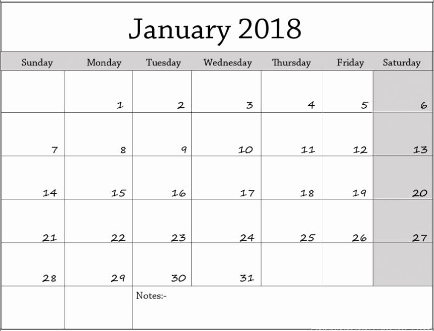 Blank January 2018 Calendar Printable New January 2018 Blank Calendar
