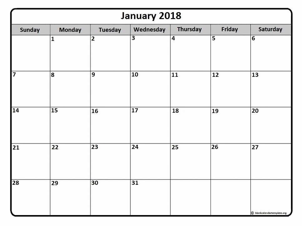 Blank January 2018 Calendar Printable New January 2018 Calendar