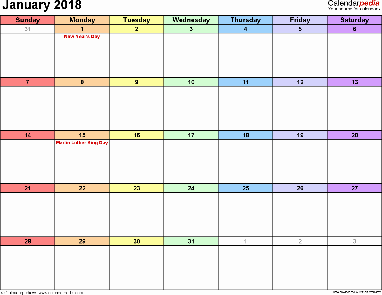 Blank January 2018 Calendar Printable New January 2018 Calendars for Word Excel & Pdf
