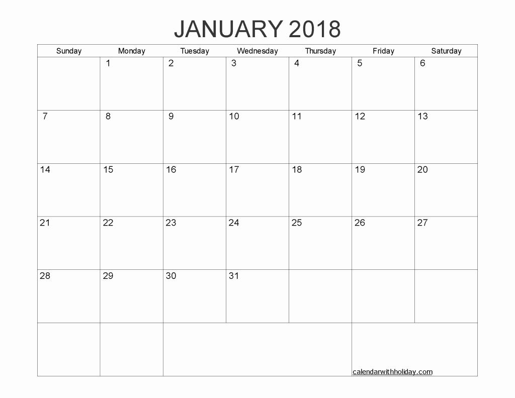 Blank January 2018 Calendar Printable Unique Blank Calendar January 2018 Printable 1 Month Calendar