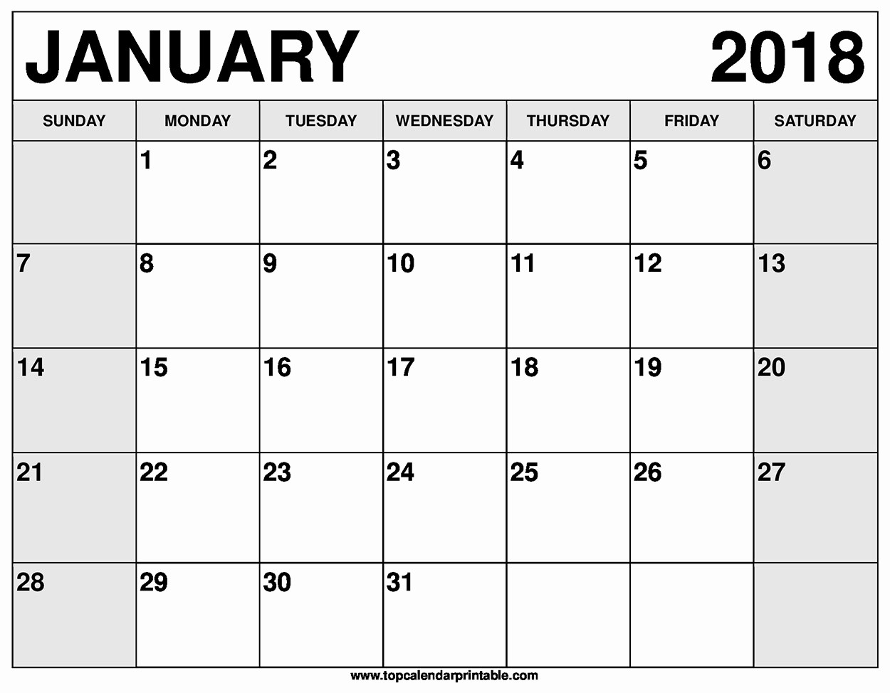 Blank January 2018 Calendar Printable Unique Blank January 2018 Calendar Printable