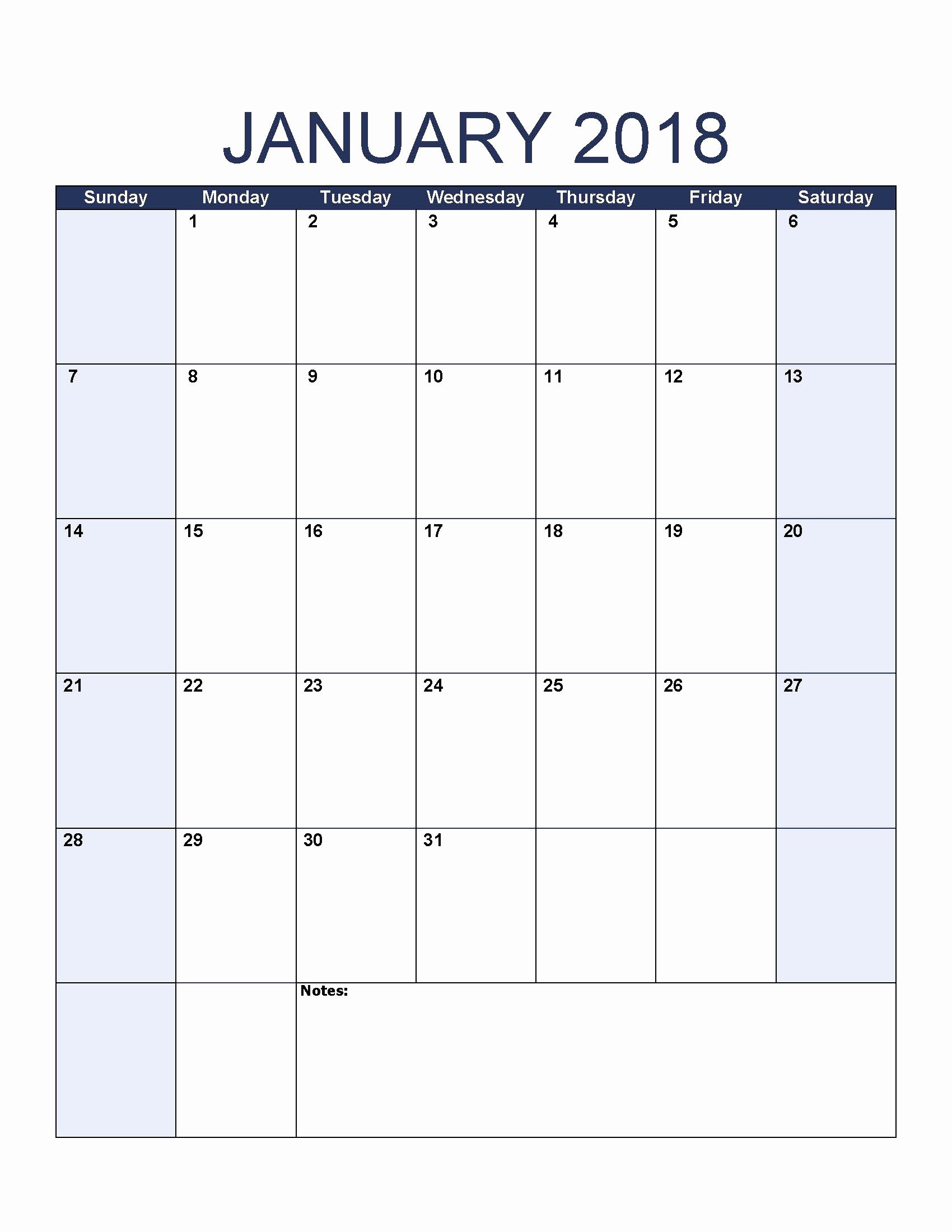 Blank January 2018 Calendar Printable Unique Blank January 2018 Calendar to Print