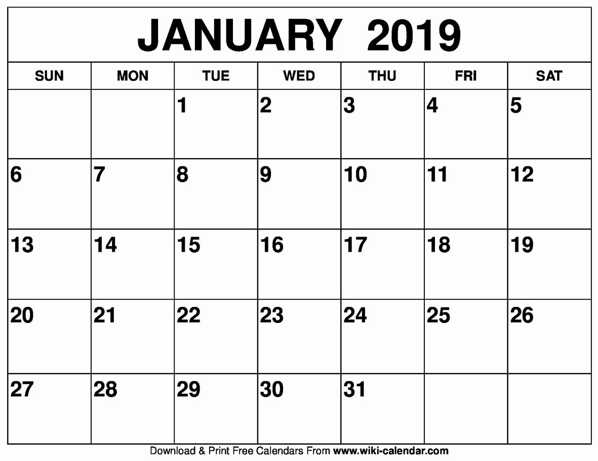Blank January 2019 Calendar Template Awesome Blank January 2019 Calendar Printable