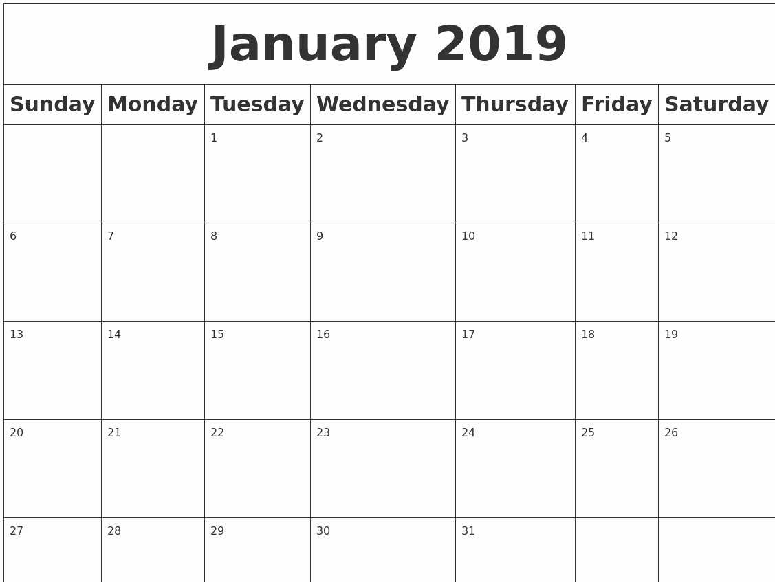 Blank January 2019 Calendar Template Awesome January 2019 Blank Calendar