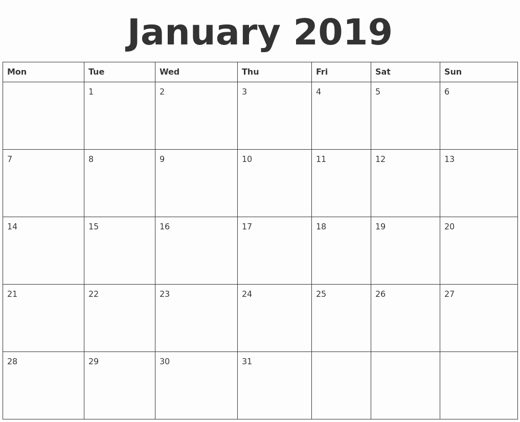 Blank January 2019 Calendar Template Awesome January 2019 Blank Calendar Template