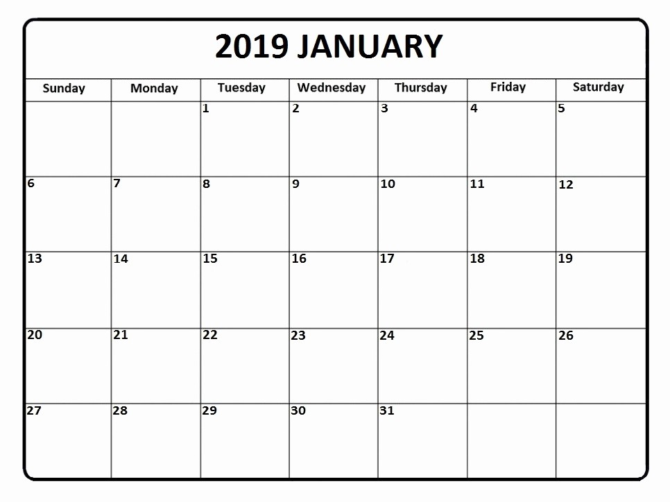 Blank January 2019 Calendar Template Beautiful Free January 2019 Calendar Landscape & Portrait Template
