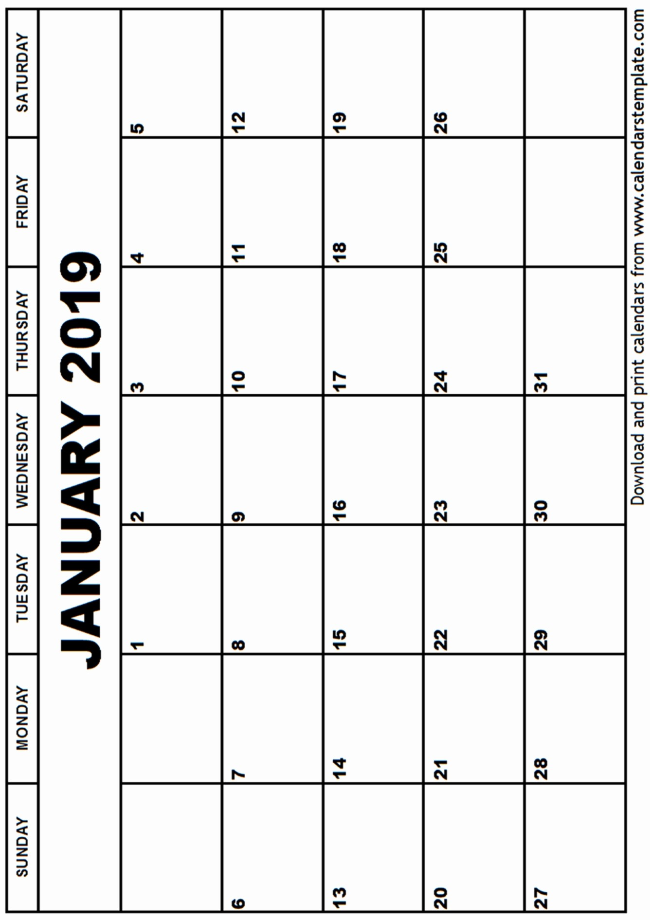 Blank January 2019 Calendar Template Beautiful January 2019 Calendar Template