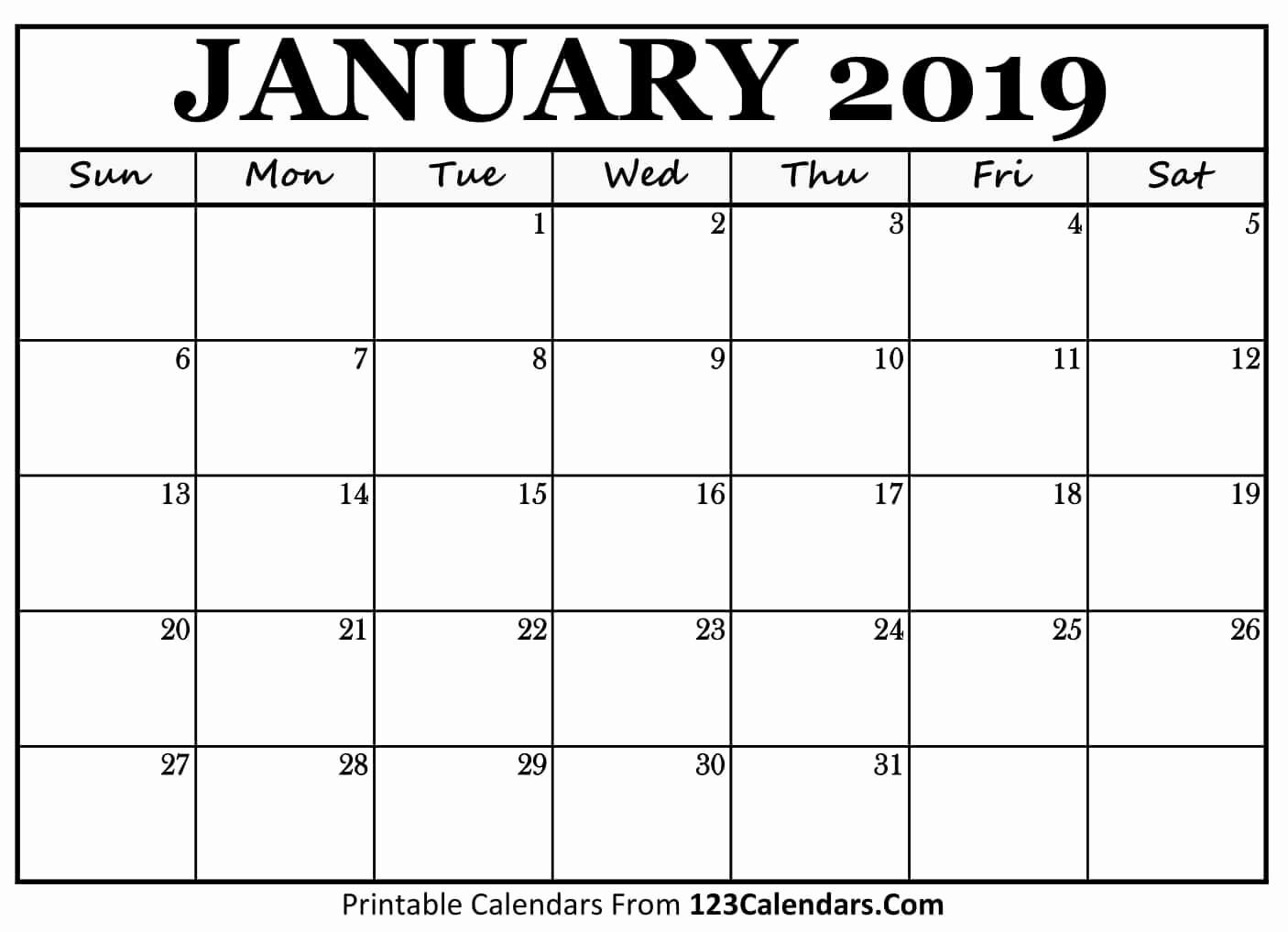 Blank January 2019 Calendar Template Beautiful Printable January 2019 Calendar Templates 123calendars