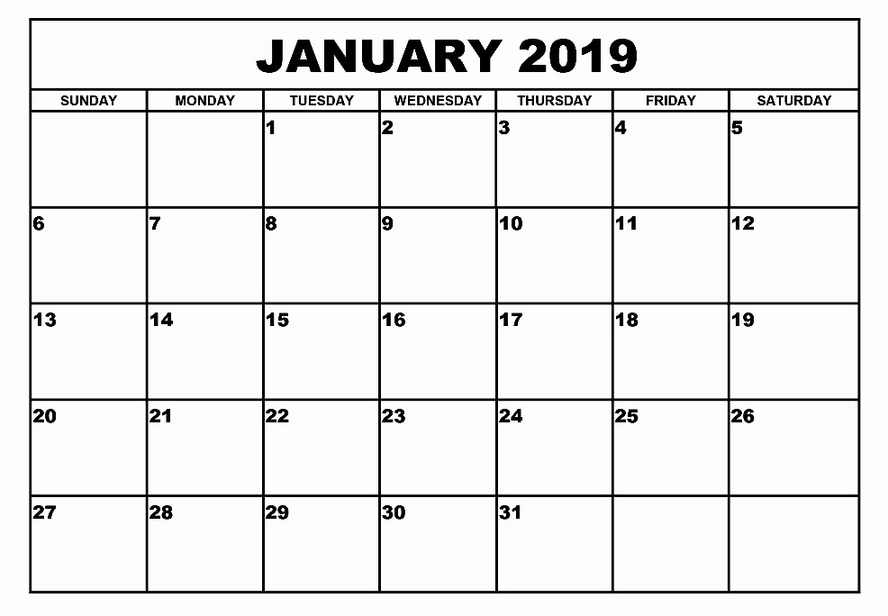 Blank January 2019 Calendar Template Best Of Download January 2019 Blank Calendar Printable