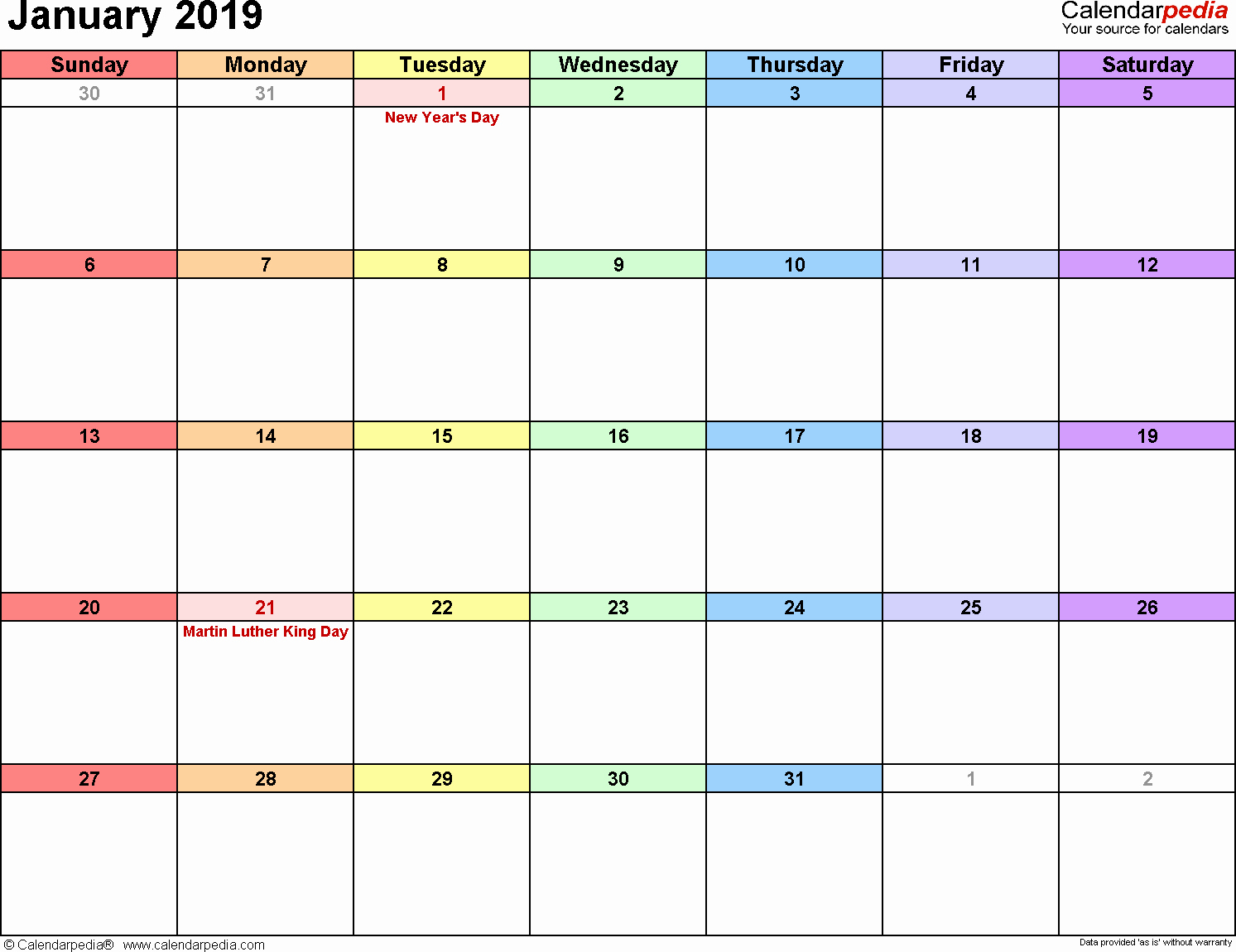 Blank January 2019 Calendar Template Best Of January 2019 Calendars for Word Excel & Pdf