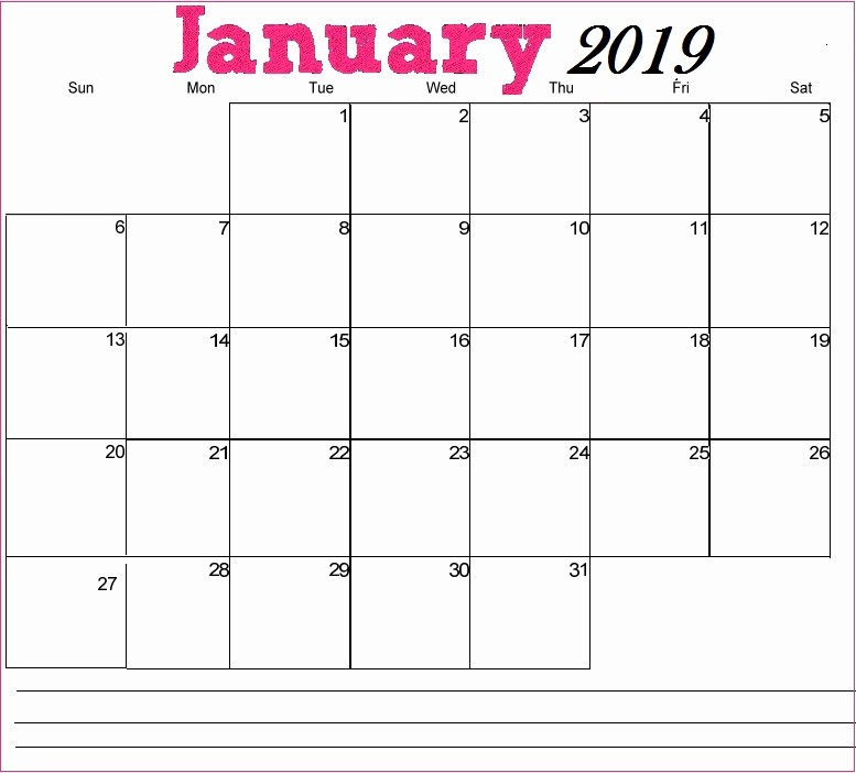 Blank January 2019 Calendar Template Best Of Printable January 2019 Calendar