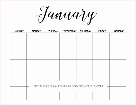 Blank January 2019 Calendar Template Elegant Blank Calendar 2019 Free Editable Template In Microsoft Word