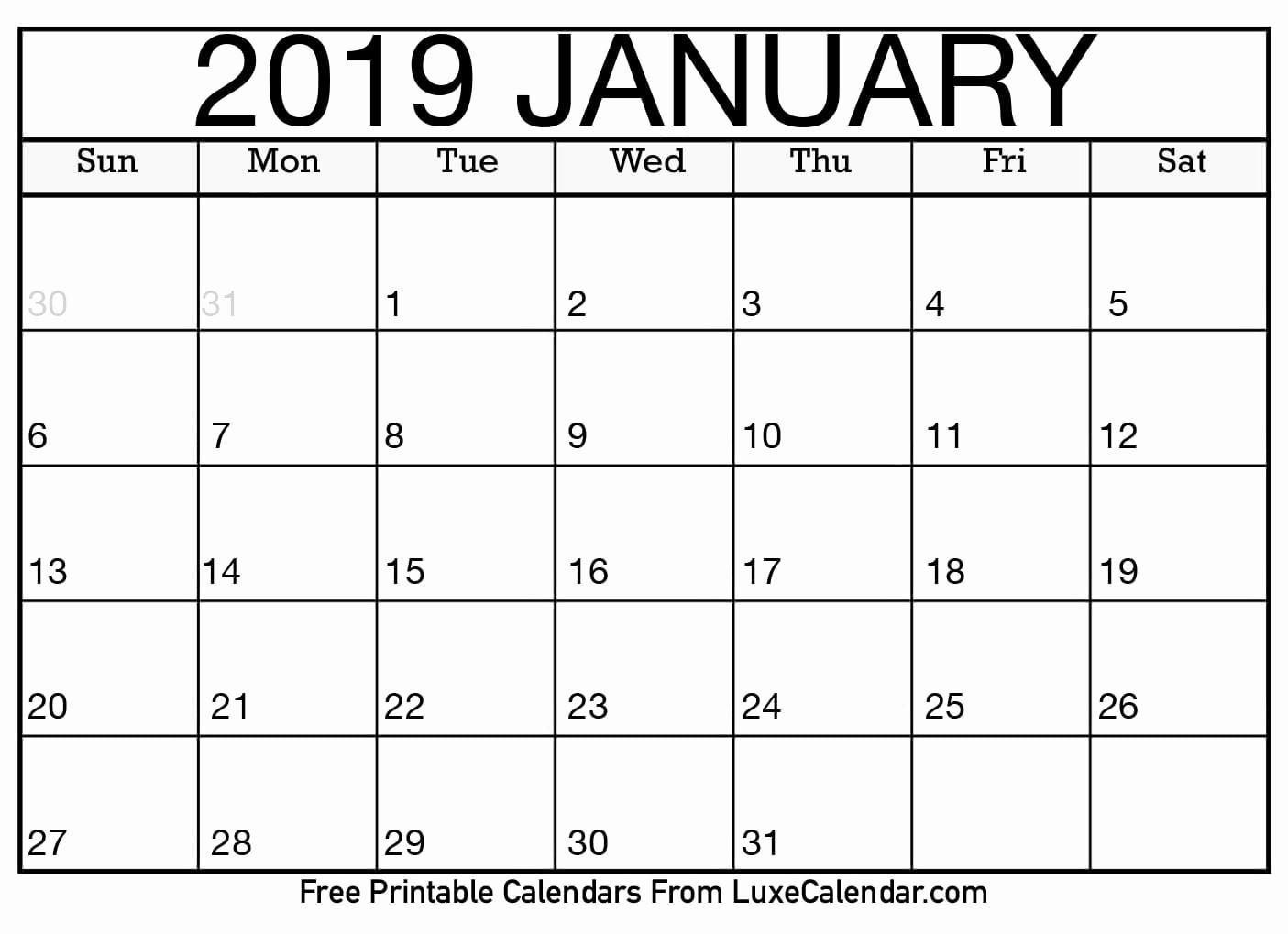 Blank January 2019 Calendar Template Fresh Blank January 2019 Printable Calendar Luxe Calendar