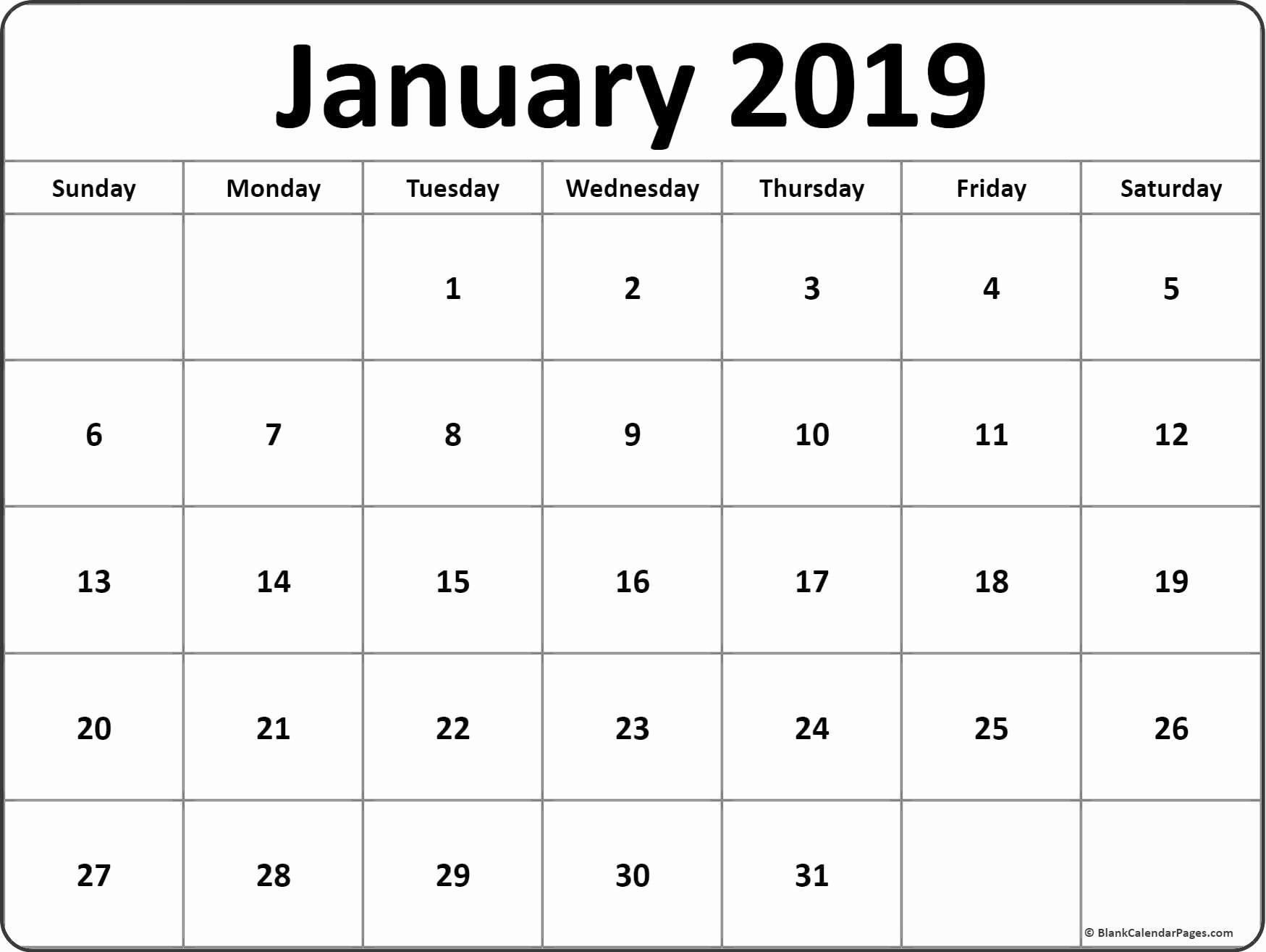 Blank January 2019 Calendar Template Fresh January 2019 Blank Calendar Templates