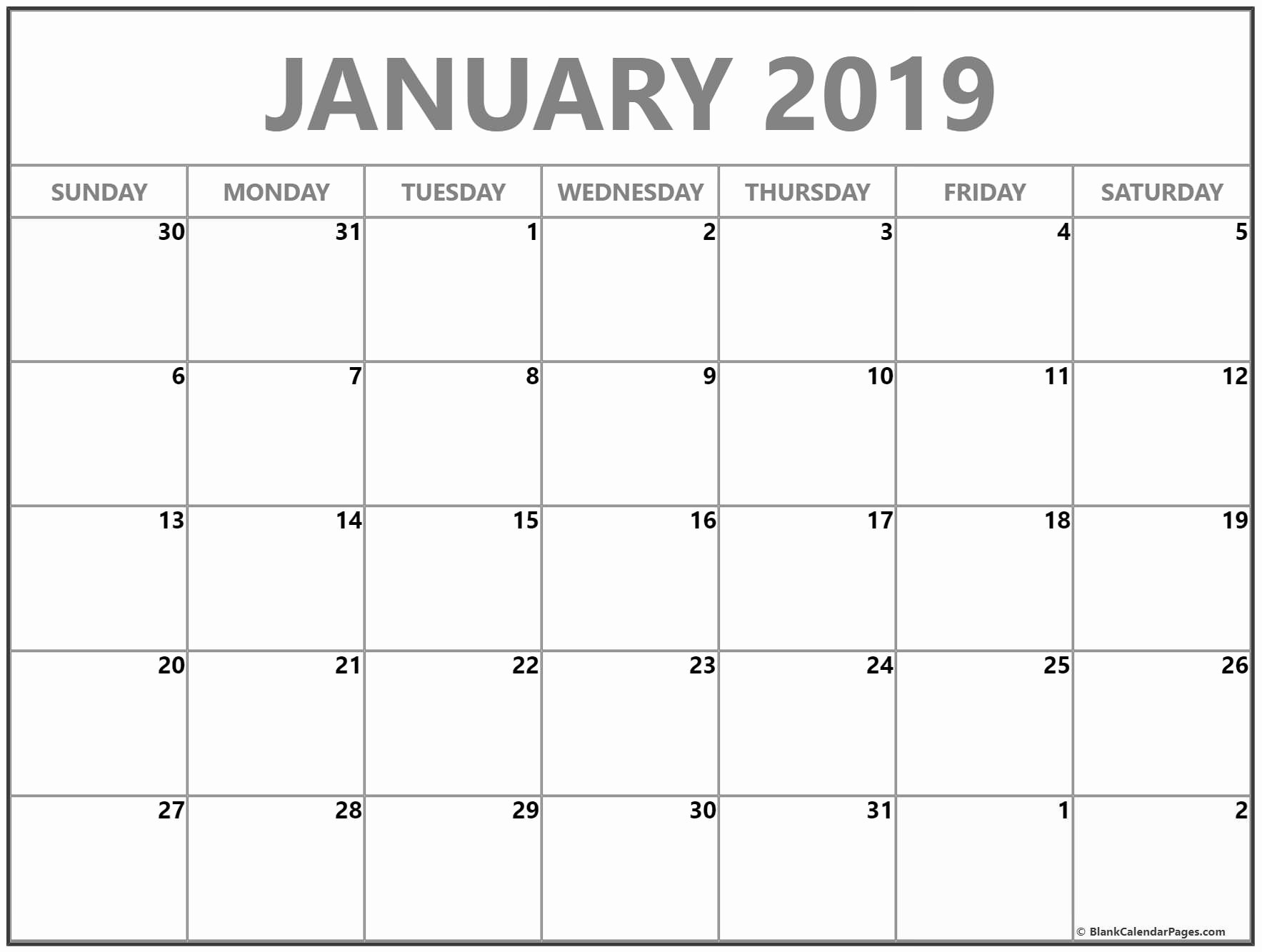 Blank January 2019 Calendar Template Fresh January 2019 Blank Calendar Templates
