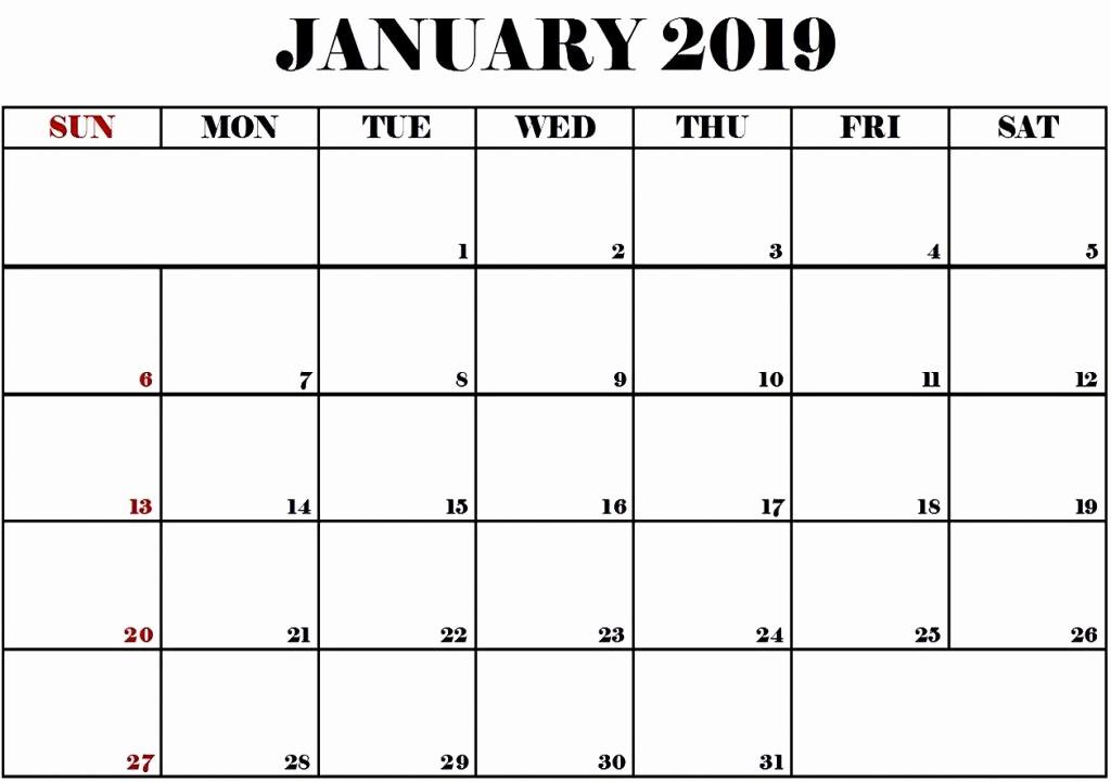Blank January 2019 Calendar Template Inspirational January 2019 Calendar Calendar Printable Template