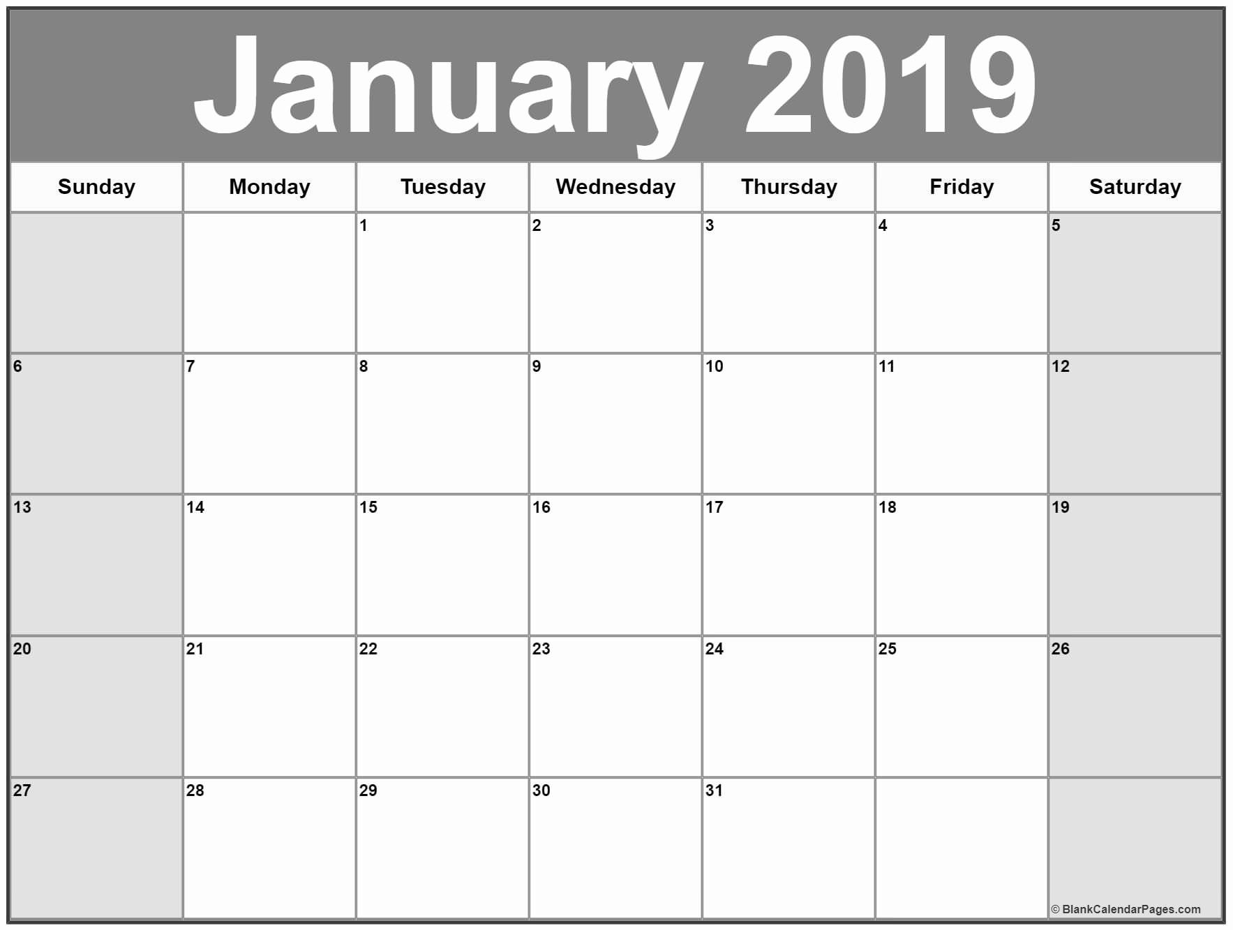 Blank January 2019 Calendar Template Inspirational January 2019 Calendar