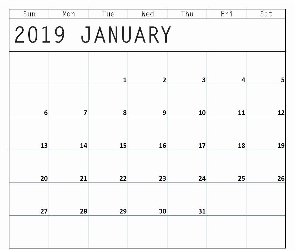 Blank January 2019 Calendar Template Lovely Blank January 2019 Calendar