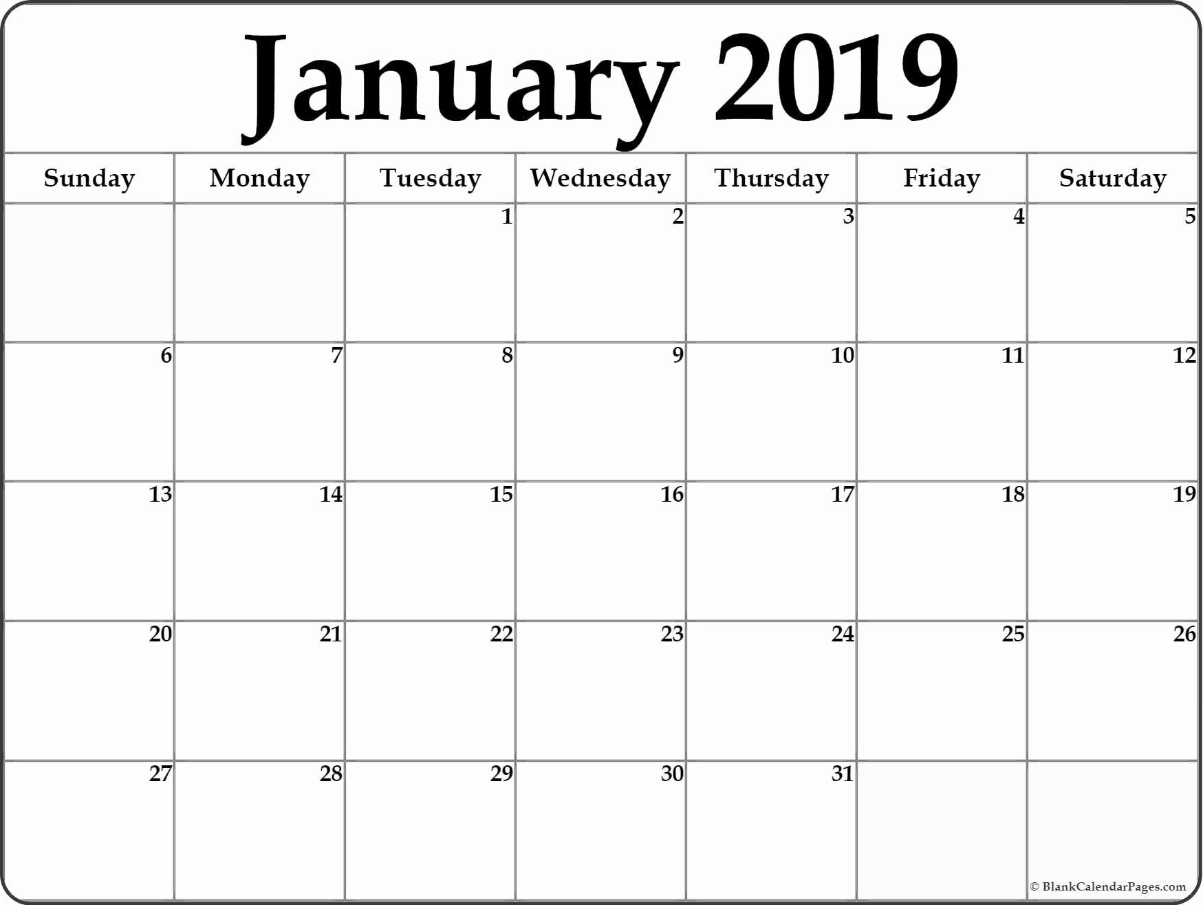 Blank January 2019 Calendar Template Lovely Image Result for Printable 2019 Calendar