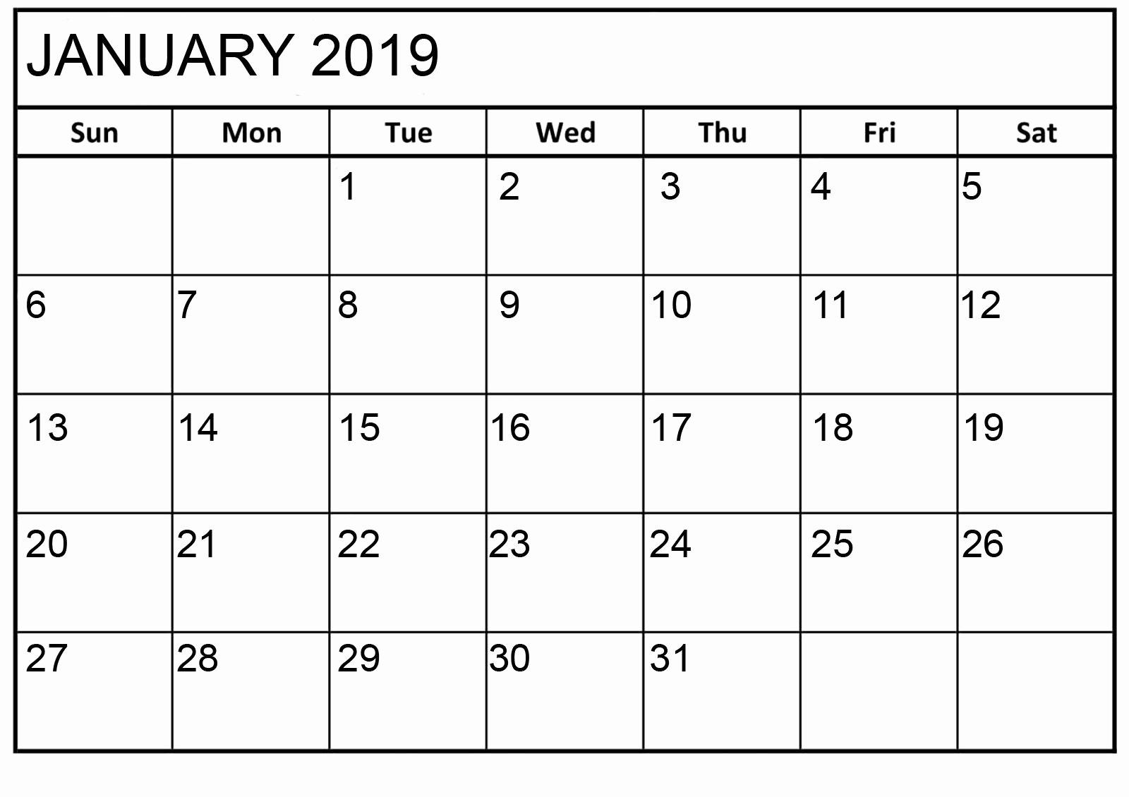 Blank January 2019 Calendar Template Lovely January 2019 Calendar Printable HTML