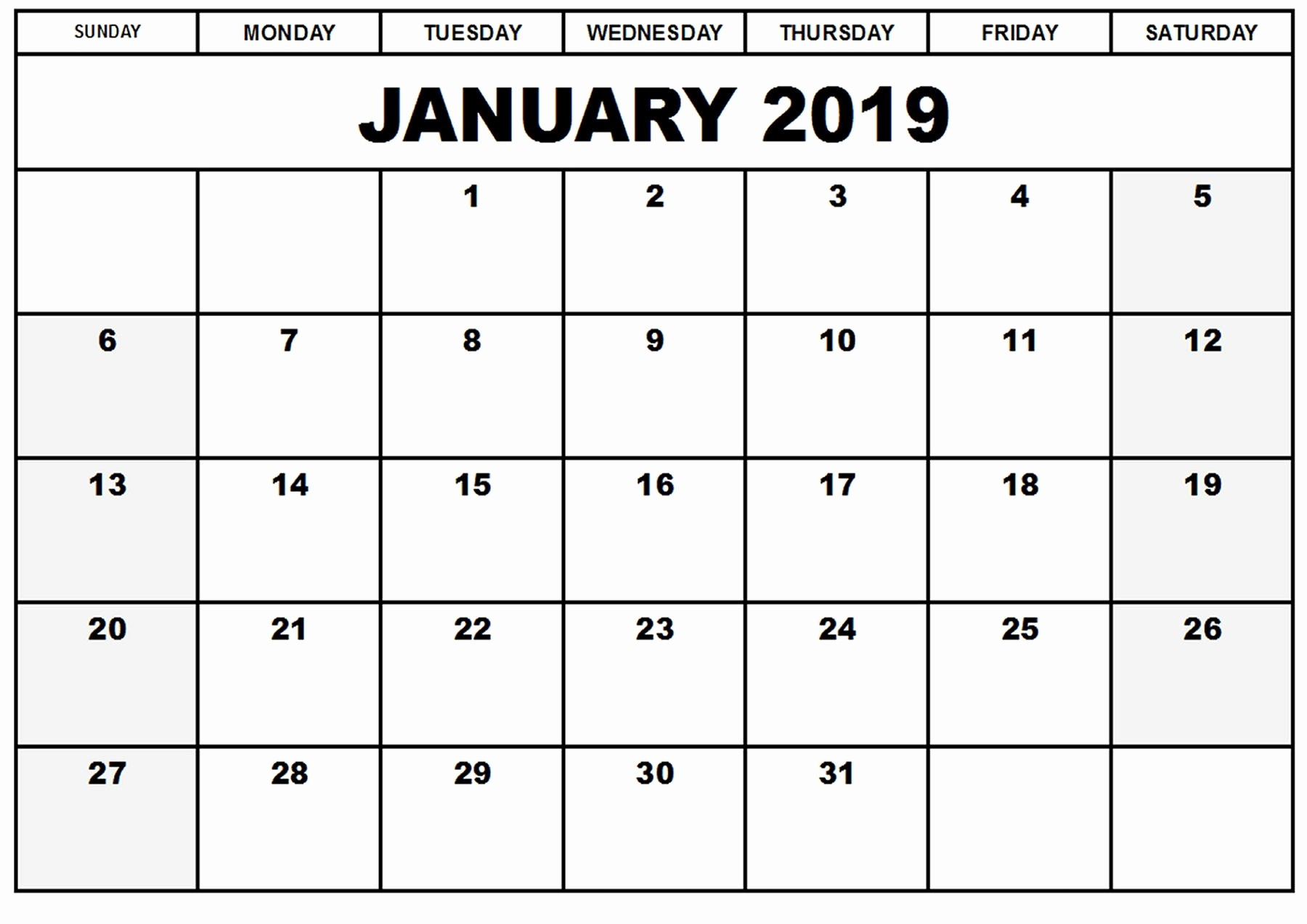 Blank January 2019 Calendar Template Lovely Pinterest