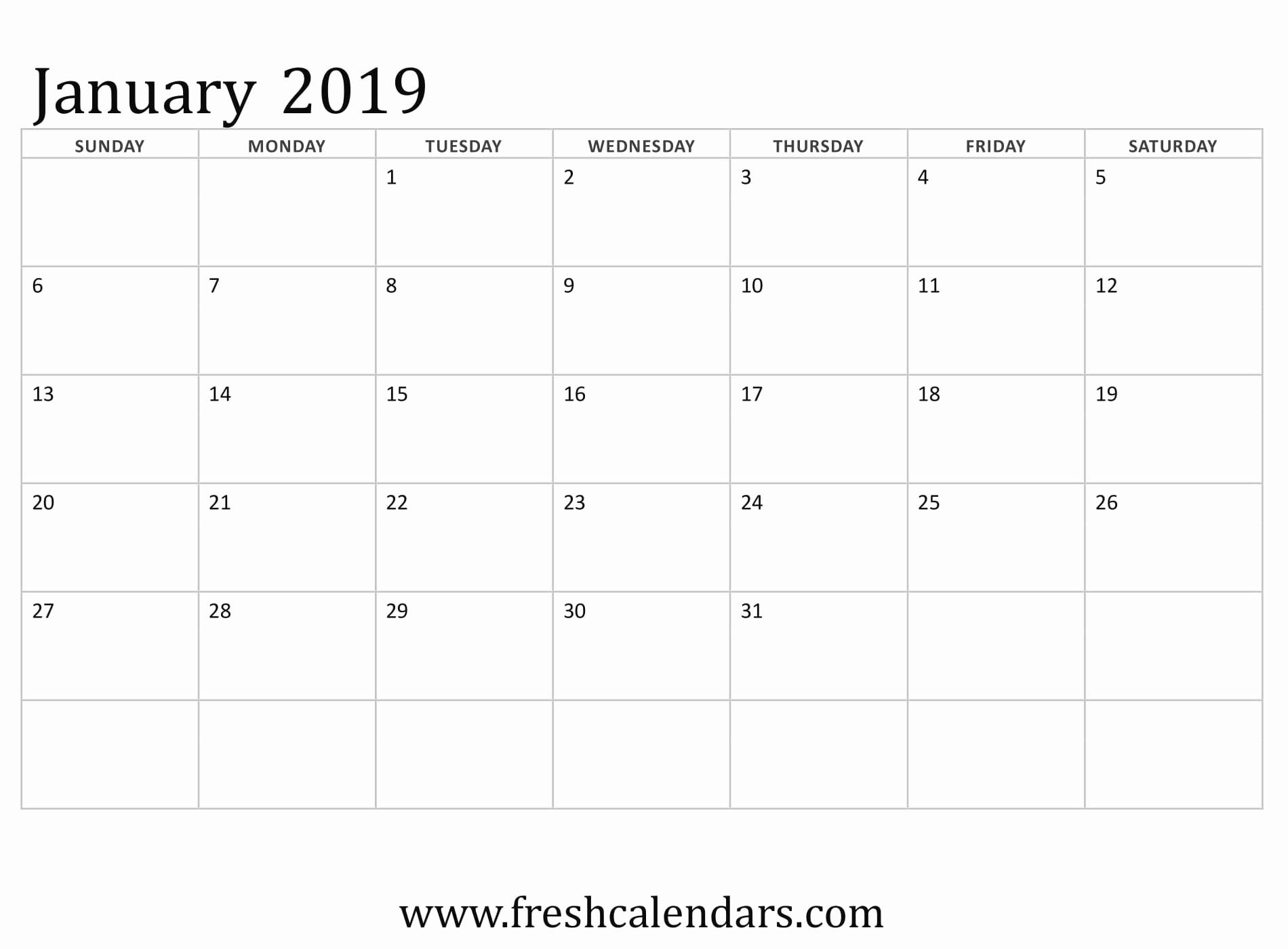 Blank January 2019 Calendar Template Luxury Blank January 2019 Calendar Printable Templates