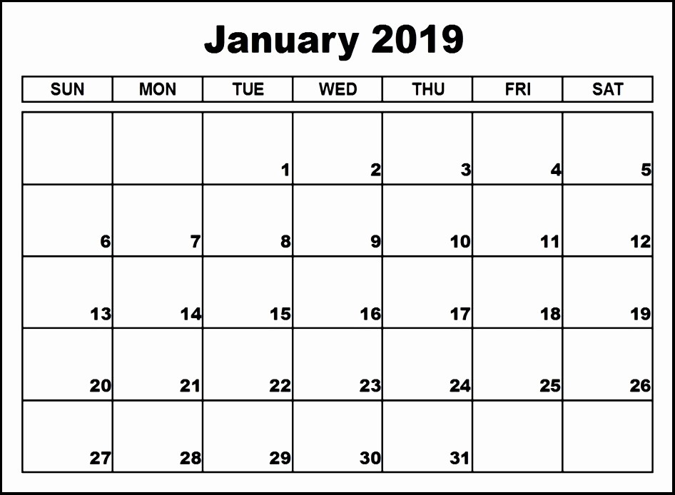 Blank January 2019 Calendar Template Luxury Blank January 2019 Calendar Templates Printable Download