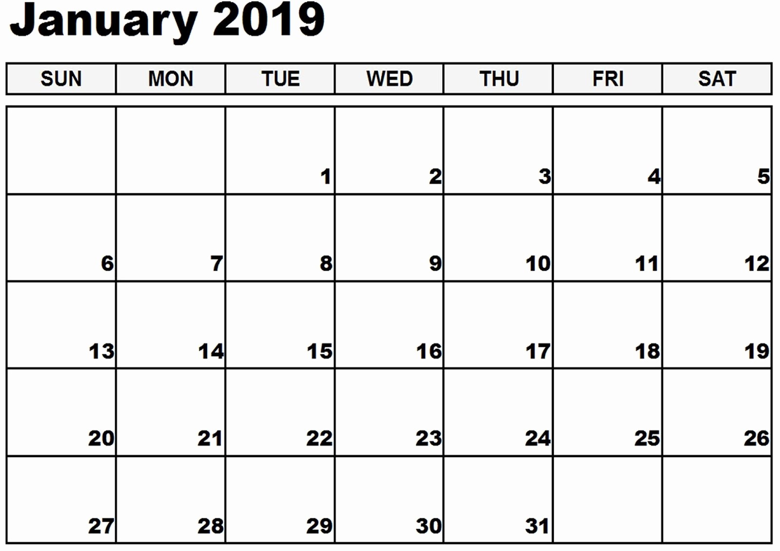 Blank January 2019 Calendar Template Luxury January 2019 Blank Calendar Free Download