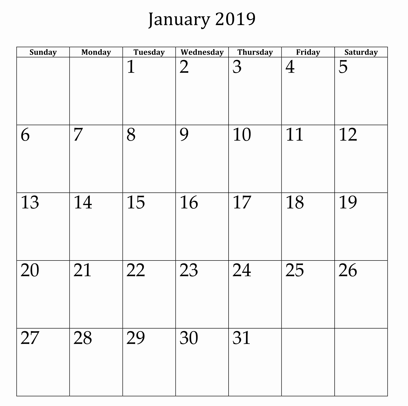 Blank January 2019 Calendar Template Luxury January 2019 Blank Calendar