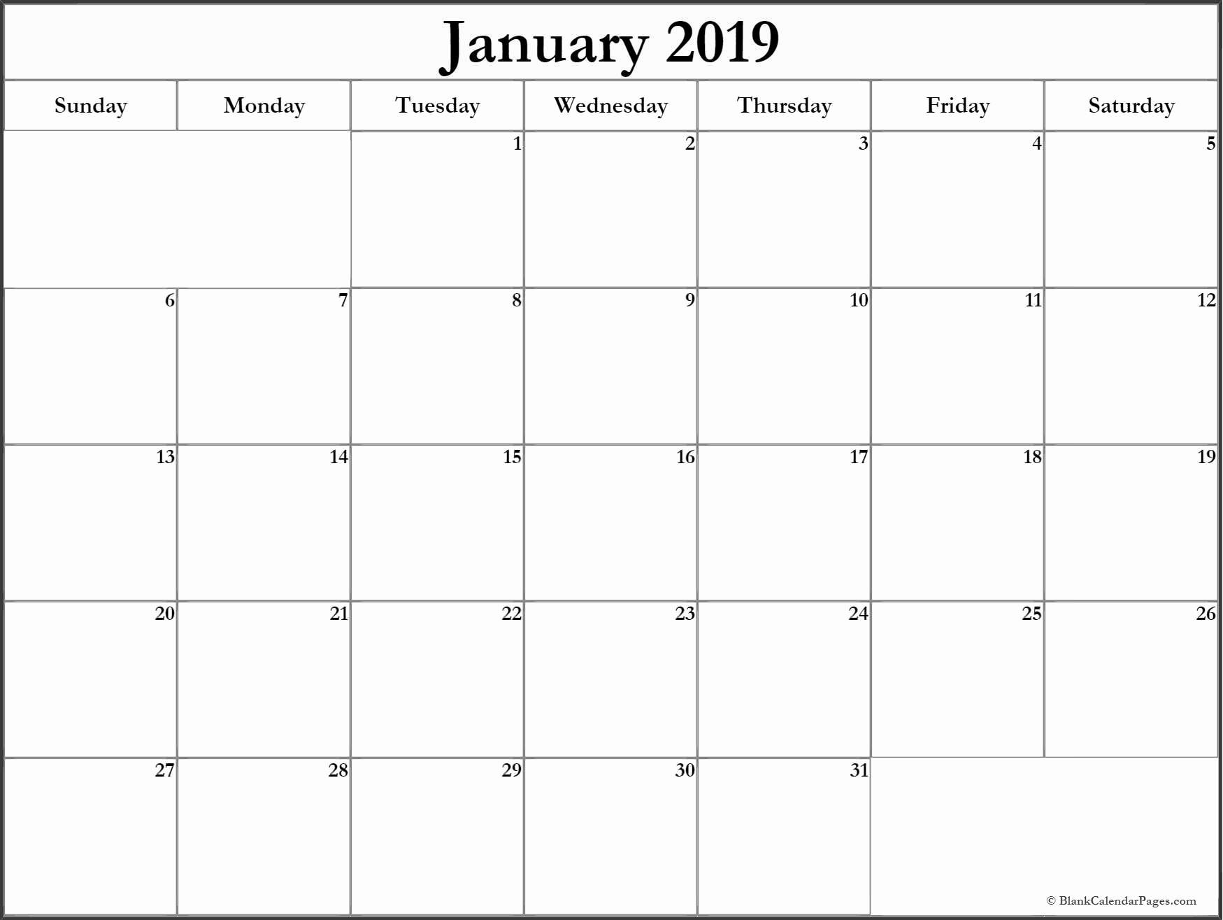 Blank January 2019 Calendar Template New January 2019 Blank Calendar Templates