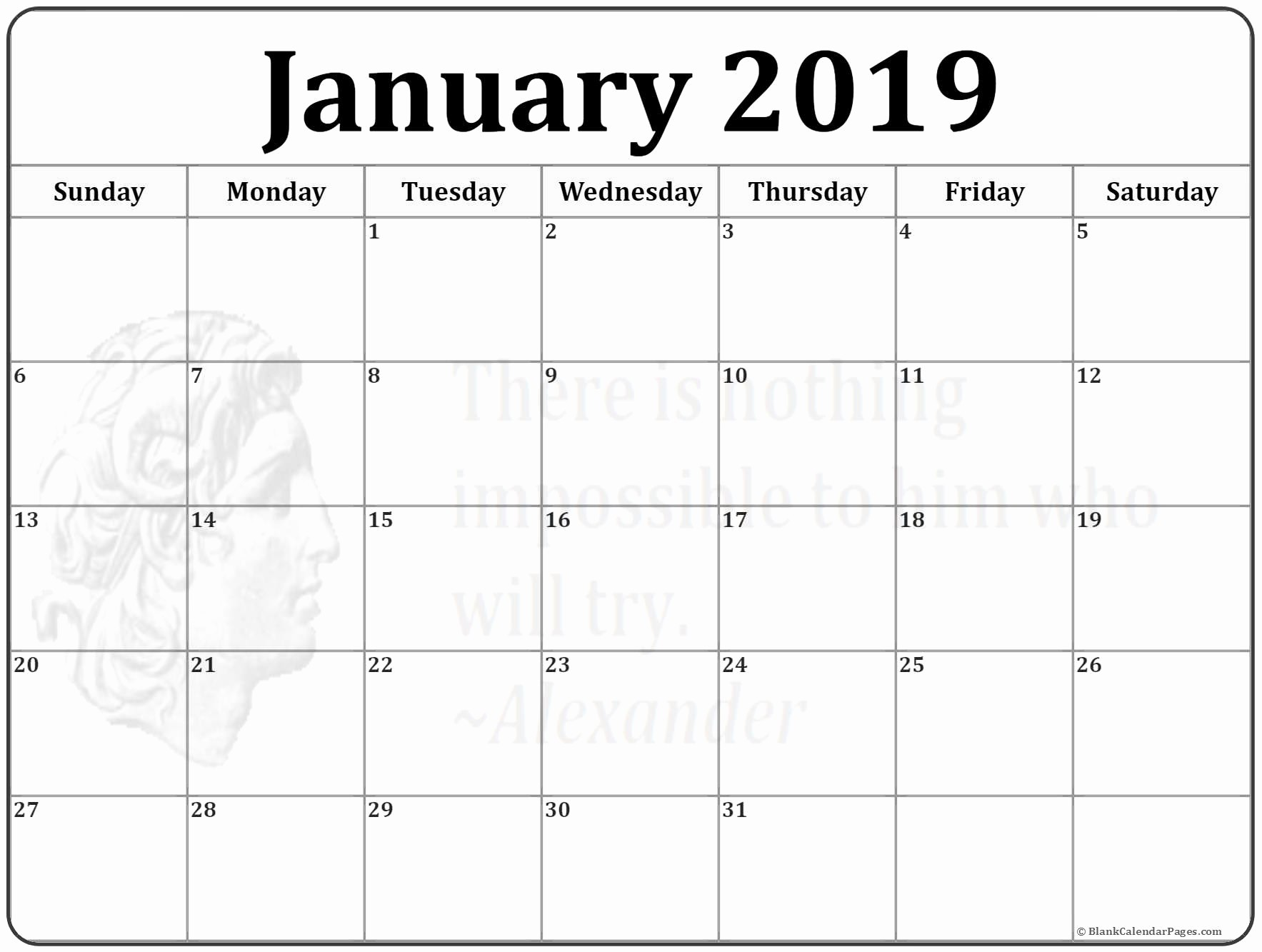 Blank January 2019 Calendar Template New January 2019 Calendar