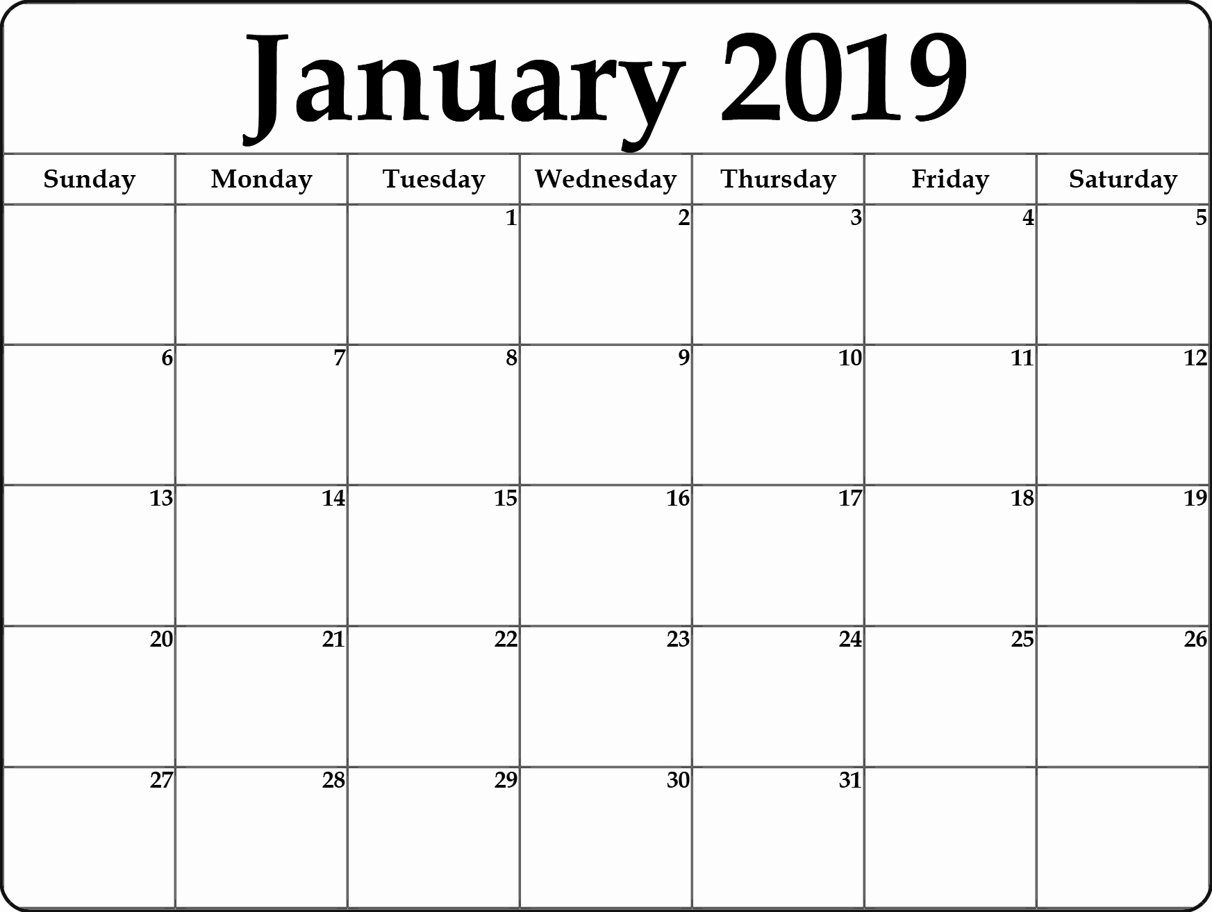 Blank January 2019 Calendar Template Unique Calendar January 2019 In Pdf Word Excel Printable Template