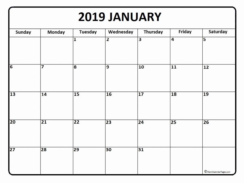 Blank January 2019 Calendar Template Unique January 2019 Calendar