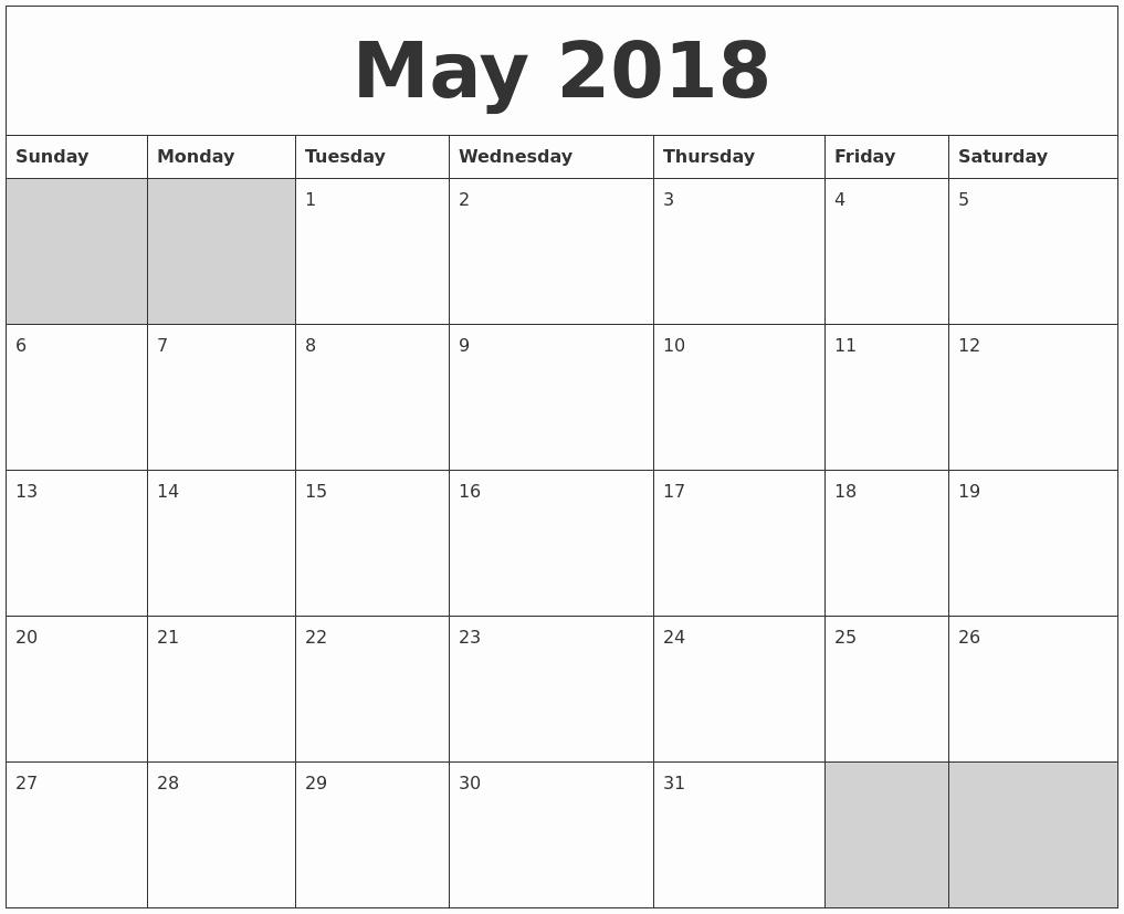 Blank May 2018 Calendar Printable Awesome May 2018 Blank Printable Calendar