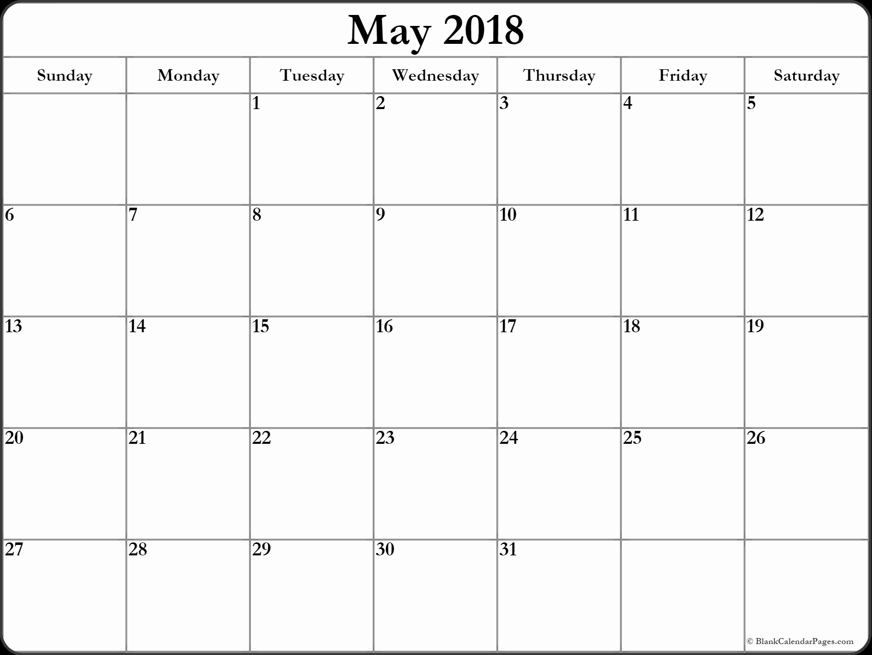 Blank May 2018 Calendar Printable Awesome May 2018 Printable Calendar 8 Free Blank Templates