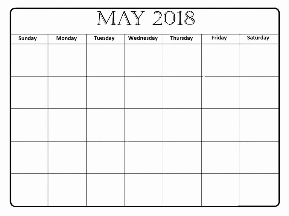 Blank May 2018 Calendar Printable Beautiful Free 5 May 2018 Calendar Printable Template Pdf source