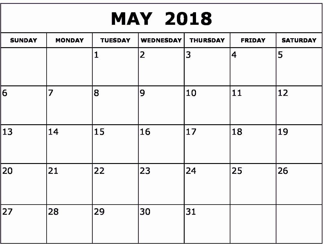 Blank May 2018 Calendar Printable Best Of Blank May 2018 Calendar Printable