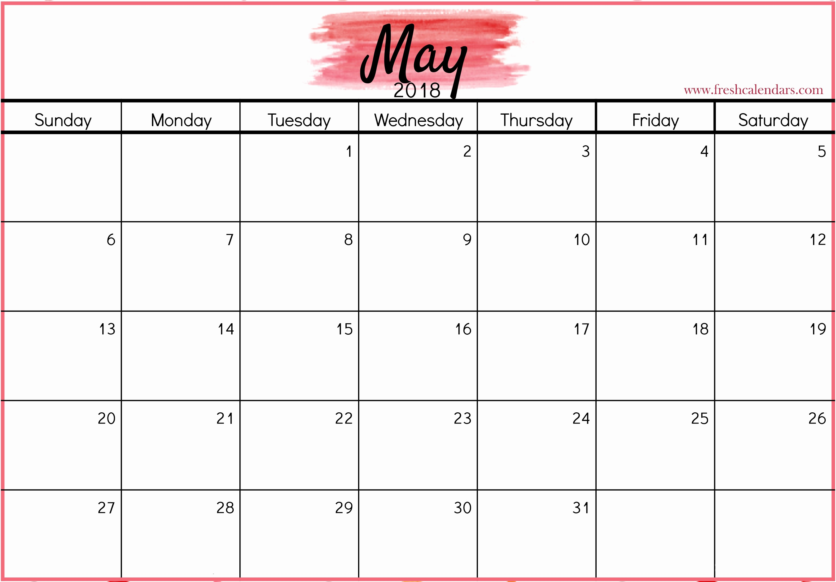 Blank May 2018 Calendar Printable Best Of Blank May 2018 Printable Calendar